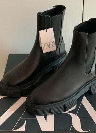 Ботинки челси из натуральной высококачественной кожи zara-оригинал