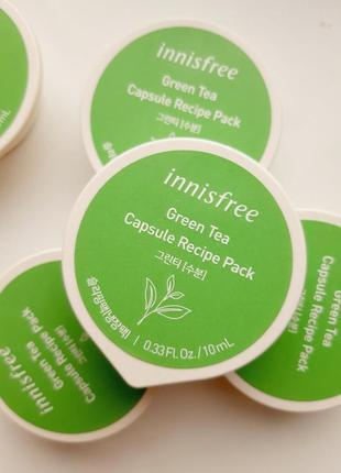 Ночная маска innisfree capsule recipe pack green tea с зеленым чаем