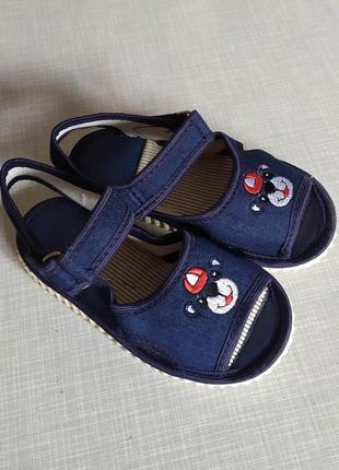 Новинка! джинс сандалии тапочки открытые 14-17 стелька