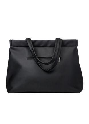 Большой, мега вместительный молодежная женская черная сумка мега шоппер4 фото
