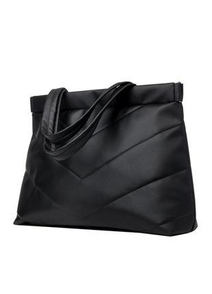 Большой, мега вместительный молодежная женская черная сумка мега шоппер3 фото