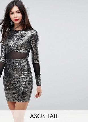 Платье мини с пайетками и сетчатыми вставками asos tall