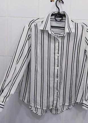 Актуальная натуральная рубашка в полоскy