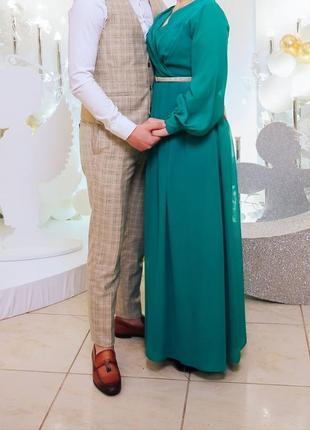 Вечернее платье, длинное платье, зелёное платье, женское платье