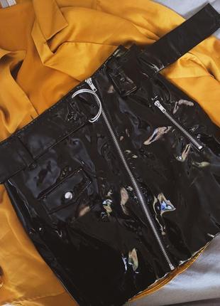 Лаковая юбка h&m