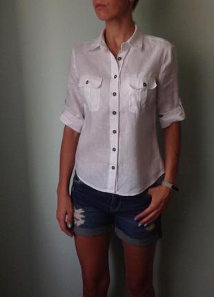 Рубашка h&m p.s(36) 100% лен с