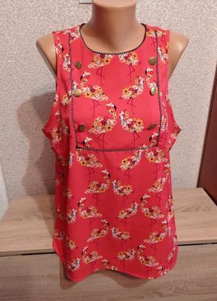 Блуза блузка кораллового цвета фламинго 18р большого размера