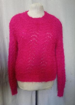 Кофта свитер свитшо цвета фуксии розовая батал малиновая мохер травка ажурная вязанная