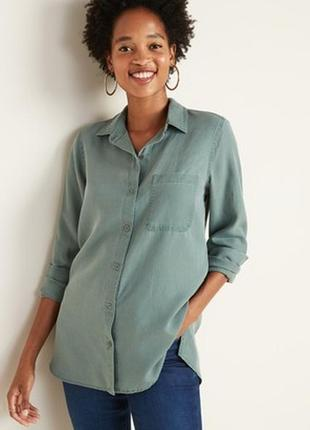 Стильная рубашка еко ткань тенцелл плюс сайз old navy