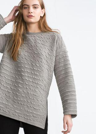 Серый свитер свитшот zara (s)