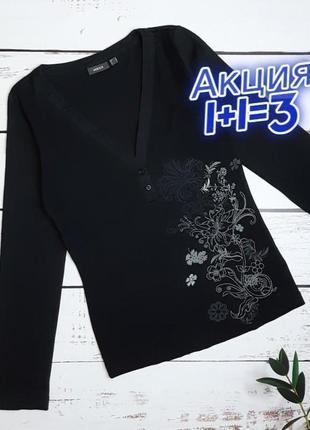 1+1=3 стильный черный женский свитер гольфик с узором mexx, размер 44 - 46