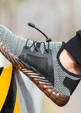 Adidas - мировой бренд  серые сетчатые мужские кроссовки со стальным носком р.44 ст.28см