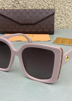 Gucci очки женские солнцезащитные большие пудрово коричневые поляризированые