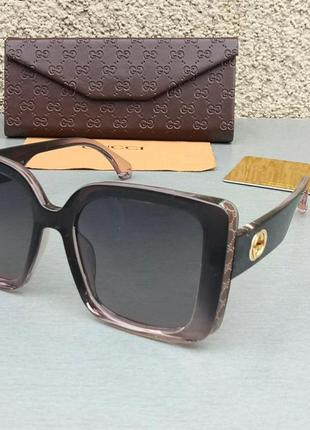 Gucci очки женские солнцезащитные темно коричневые с бежевым большие поляризированые