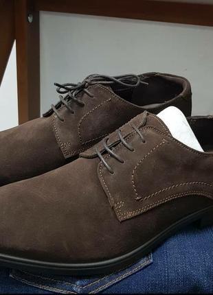Мужские замшевые ортопедические туфли дерби ecco 46