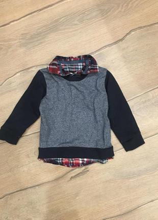 Реглан , рубашка обманка 86-90