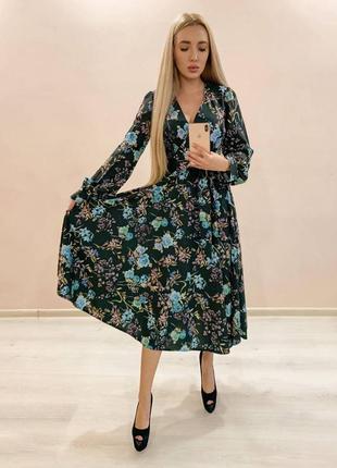 Платье миди в цветок шифоновое шёлковое шифон шёлк в цветочек нарядное стильное