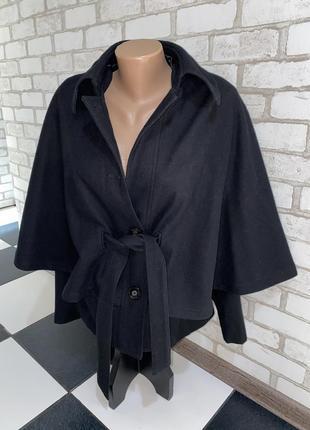 Чёрное женское тёплое полупальто  летучая мышь  бренд milla