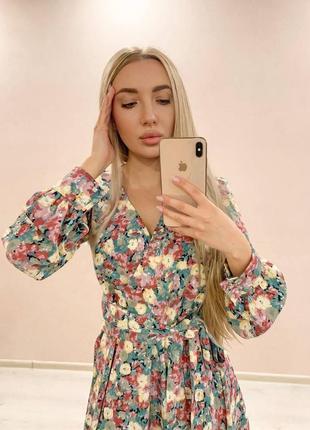 Шикарное платье в цветок цветочек миди шифон шёлк шифоновое шелковое