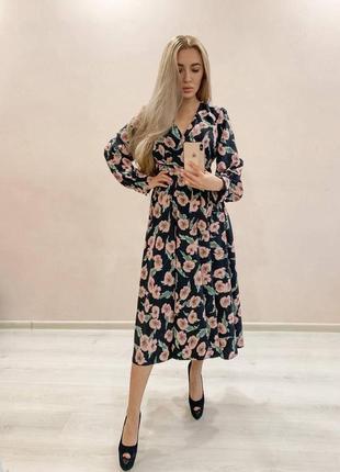 Платье миди в цветок цветочек шифон шифоновое шелк шелковое стильное
