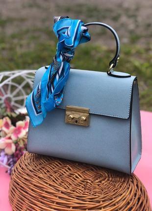 Голубая кожаная сумка италия женские сумки итальянские кожаные