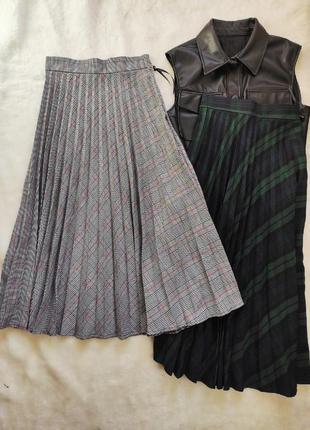 Дизайнерская длинная юбка плиссе миди теплая в клетку полоску серая разноцветная шерсть