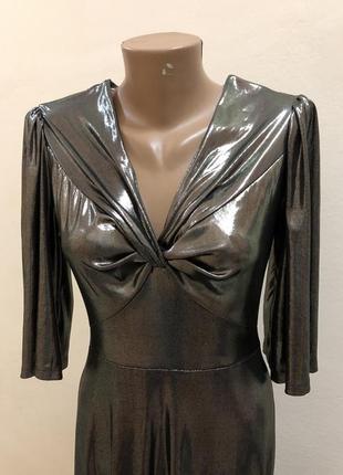 Трикотажное платье серебристо медного