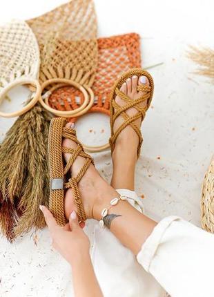 Плетеные сандалии на платформе 100% ручная работа