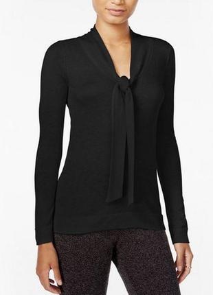 Блуза из трикотажа, как тонкий свитерок, с воротничком , переходящим в шарф s