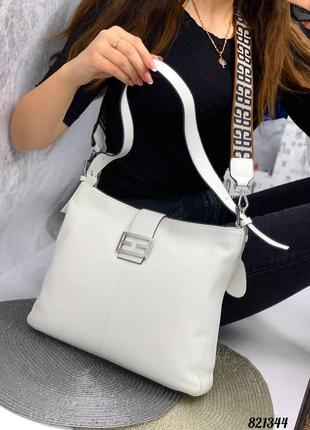 💥 шикарная кожаная белая сумка