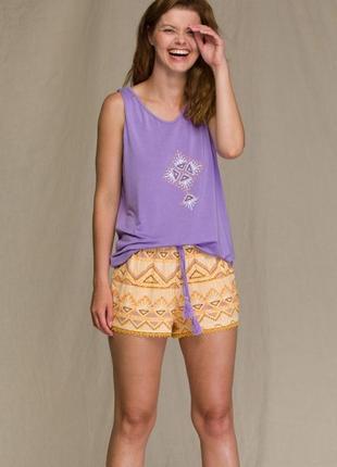 Женский домашний вискозный костюм фиолетового цвета key lns 960 a21