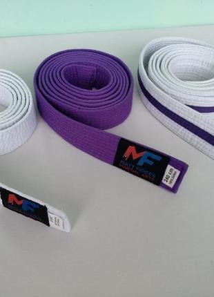 Пояс для карате тхэквондо дзюдо джиу-джитсу и др.единоборств, белый фиолетовый
