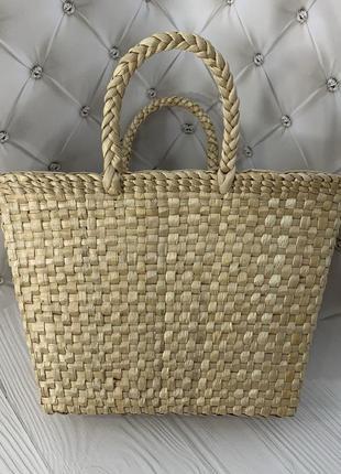 Женская соломенная плетеная сумка корзинка ecobag classic с затяжкой внутри