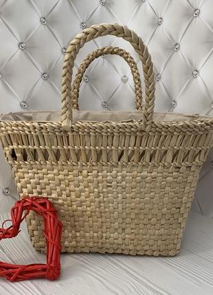 Женская соломенная плетеная сумка корзинка ecobag wave с затяжкой внутри