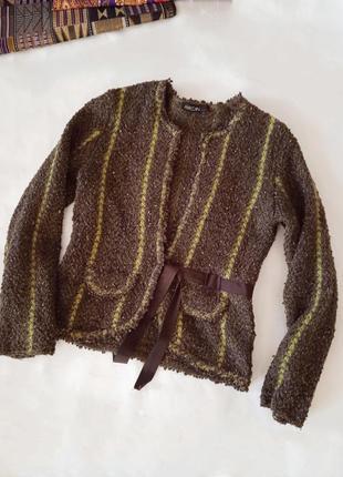 """Р. l-xl """" marc cain"""" шерстяной вязаный твидовый жакет пиджак"""
