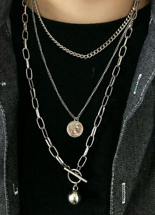 Стильное колье крупные цепи в стиле панк три цепочки  ожерелье серебро