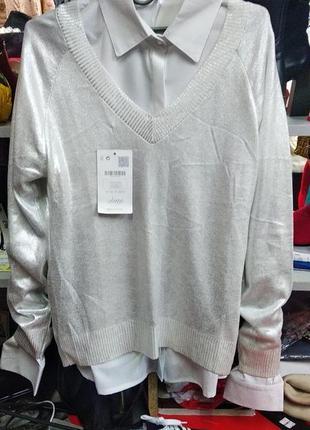 Пуловер кофта с вырезом люрекс