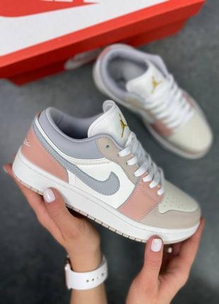 Новые женские кроссовки nike air jordan 1 low pink/grey розовые бежевые на весну