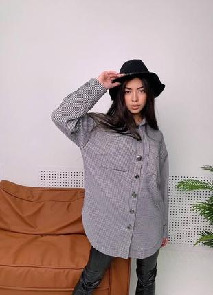 Женская рубашка в гусиную лапку