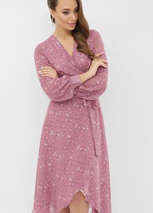 Лиловое платье на запах