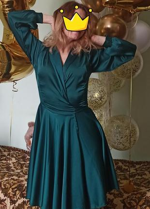 Сукня шовкова изумруд