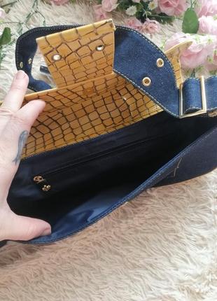 Сумка клатч. кросс боди. джинсовая сумка. рептилия, коробка широкий ремешок7 фото