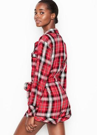 Ромпер, комбенизон, пижама victoria's secret flannel tie romper, виктория сикрет