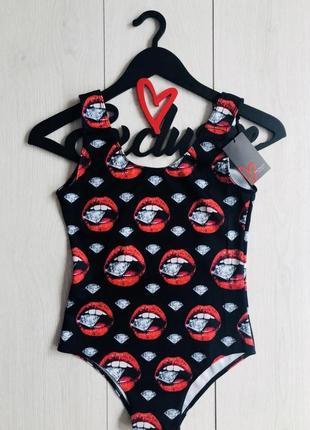 Женский купальник сдельный монокини exclusive  44-46 черный с красным (124)