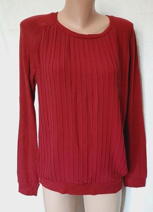 Нарядный джемпер марсала лонгслив свитер плиссе кофта блуза