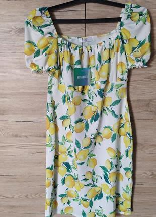 Женский летний сарафан, платье с лимончиками, s-m