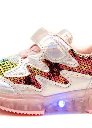 Светящиеся кроссовки для девочек размер: 21,22,23,24,25,26