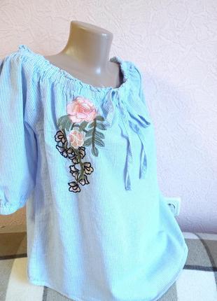 Красивая легкая блузка с вышивкой  quiz -100% хлопок
