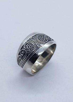 Шикарное широкое кольцо серебряное