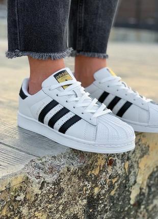 Новые женские кроссовки кеды  adidas superstar белые с чёрными полосками на весну модные